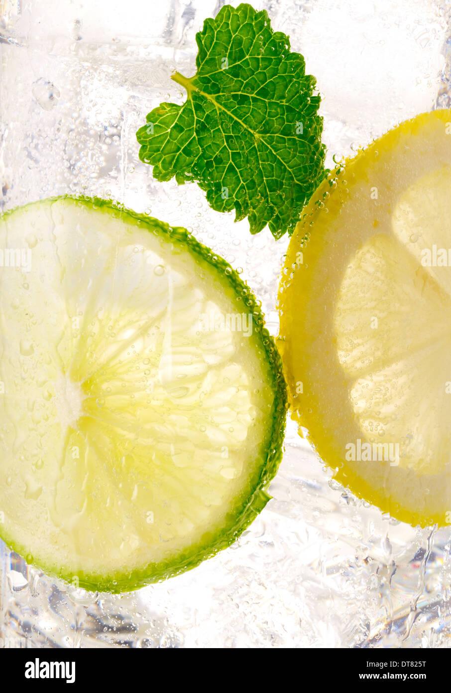 A close up detail of a lemon lime soda with a mint leaf with ice in a clear glass - Stock Image