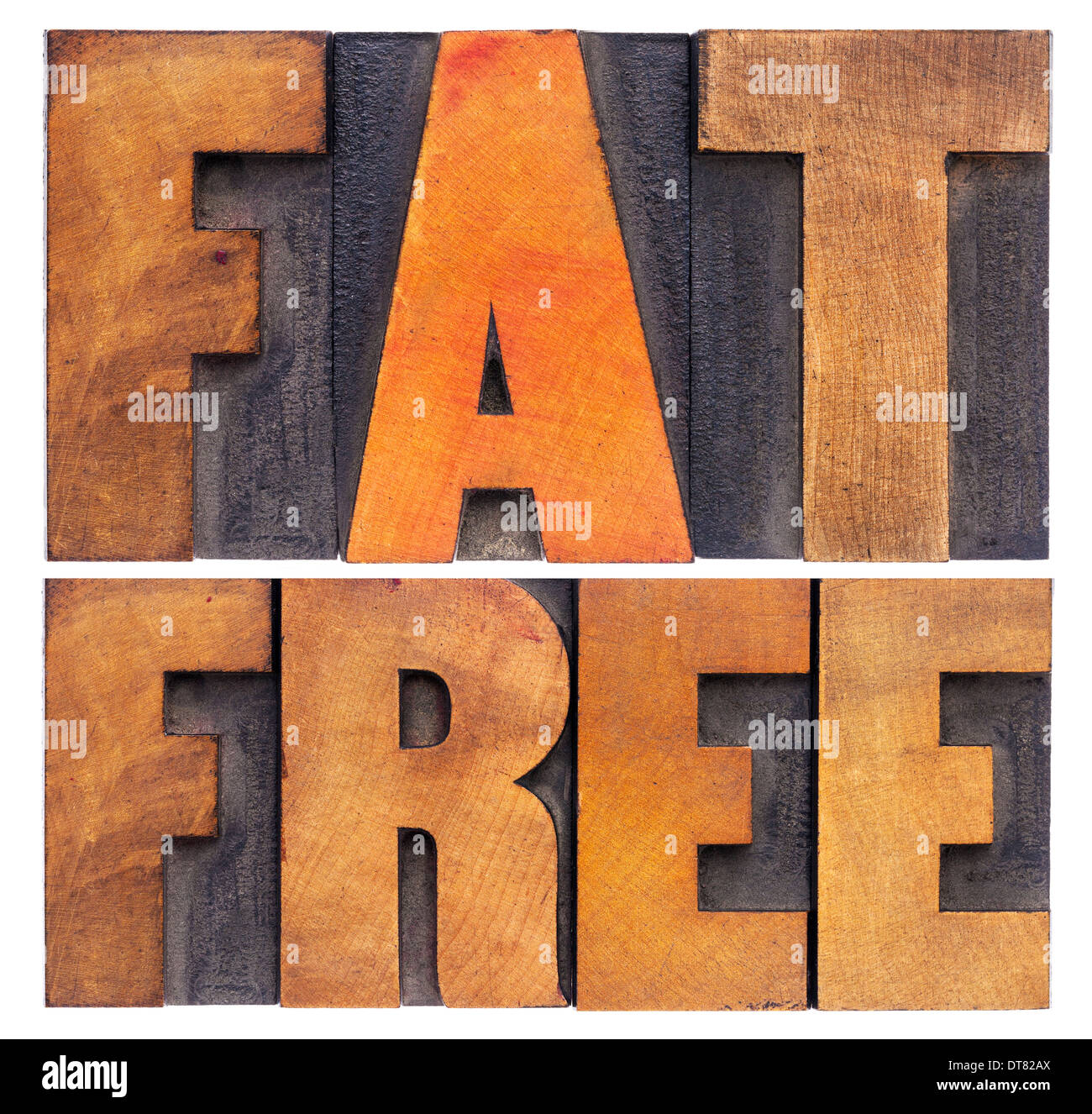 fat free -nutrition concept - isolated text in vintage letterpress wood type Stock Photo
