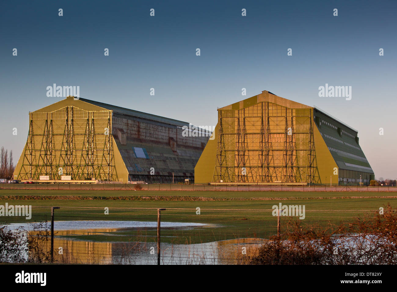The iconic hangars at Cardington,Bedfordshire.home to the ill fated R101 airship Stock Photo