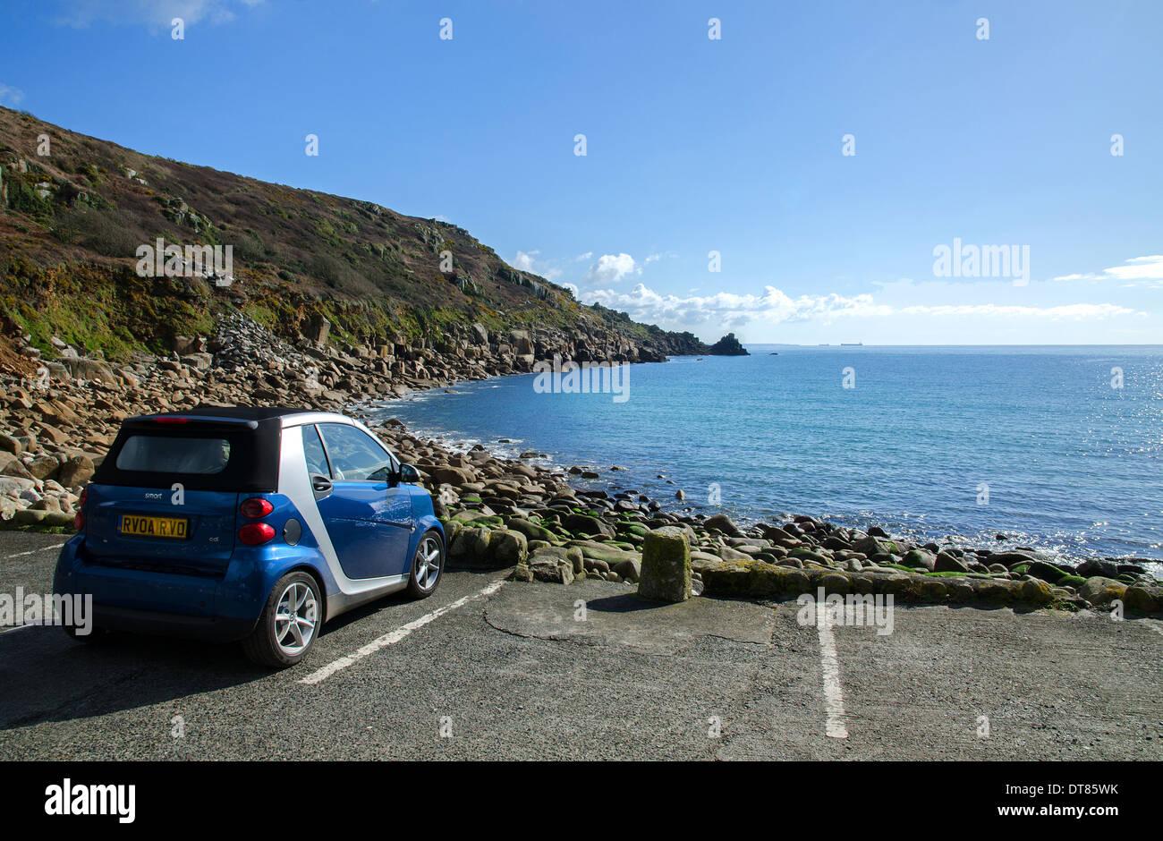 a car parked in the carpark at Lamorna cove, Cornwall, UK - Stock Image