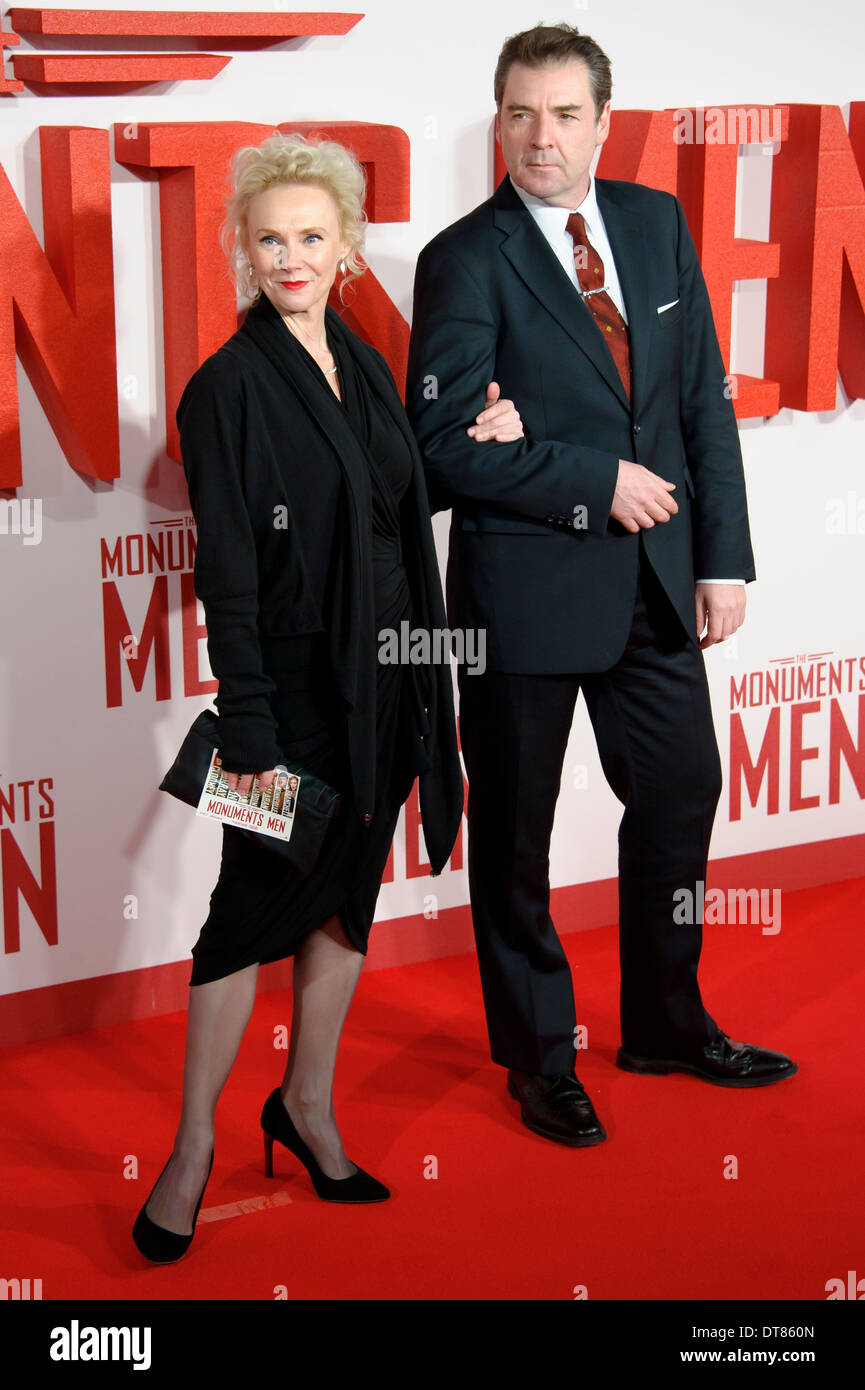 Joy Harrison and Brendan Boyle arrive for the UK Premiere of 'The Monuments Men' at a central London cinema, London. - Stock Image