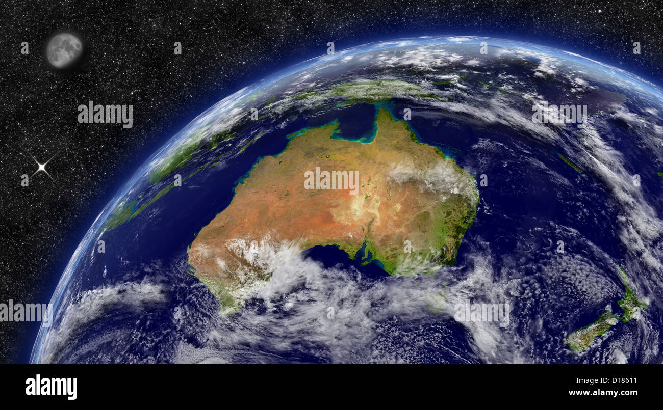 Australia on planet Earth from space with Moon and stars in the background. Elements of this image furnished by NASA. - Stock Image