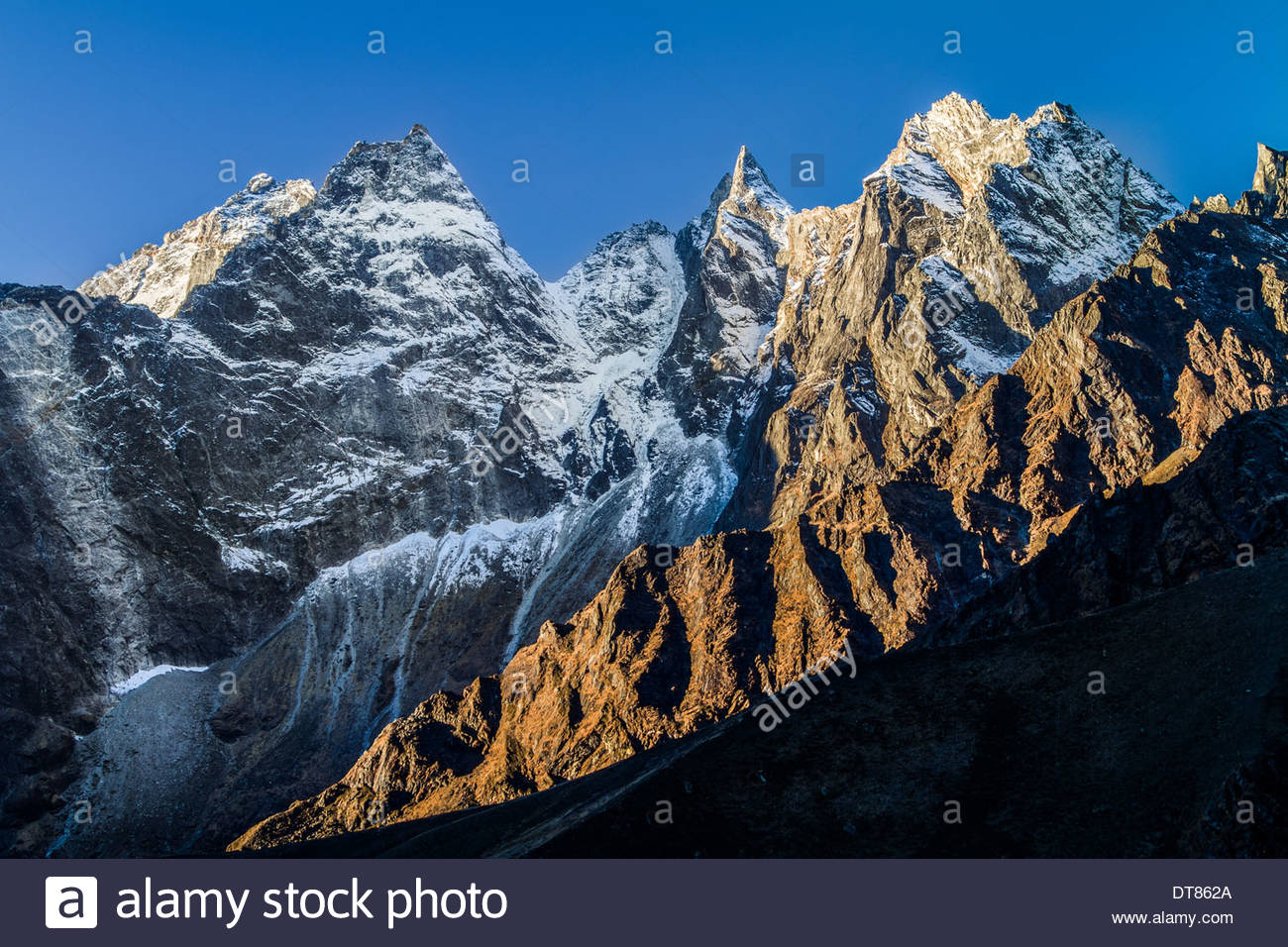 Jagged Himalayas At Sunrise, Nepal - Stock Image