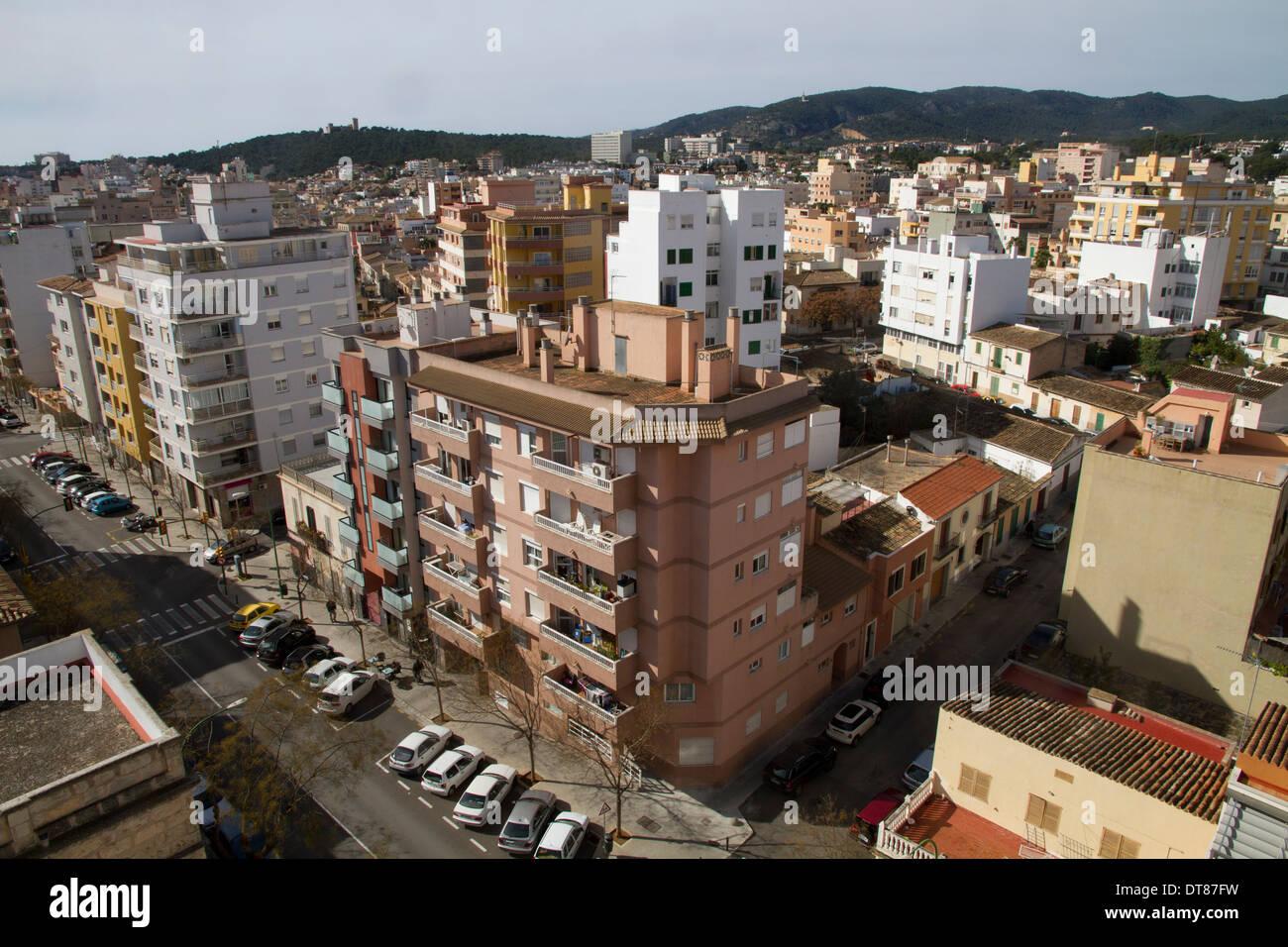 Palma de Mallorca edifice buildings city hi view Balearic islans Spain - Stock Image