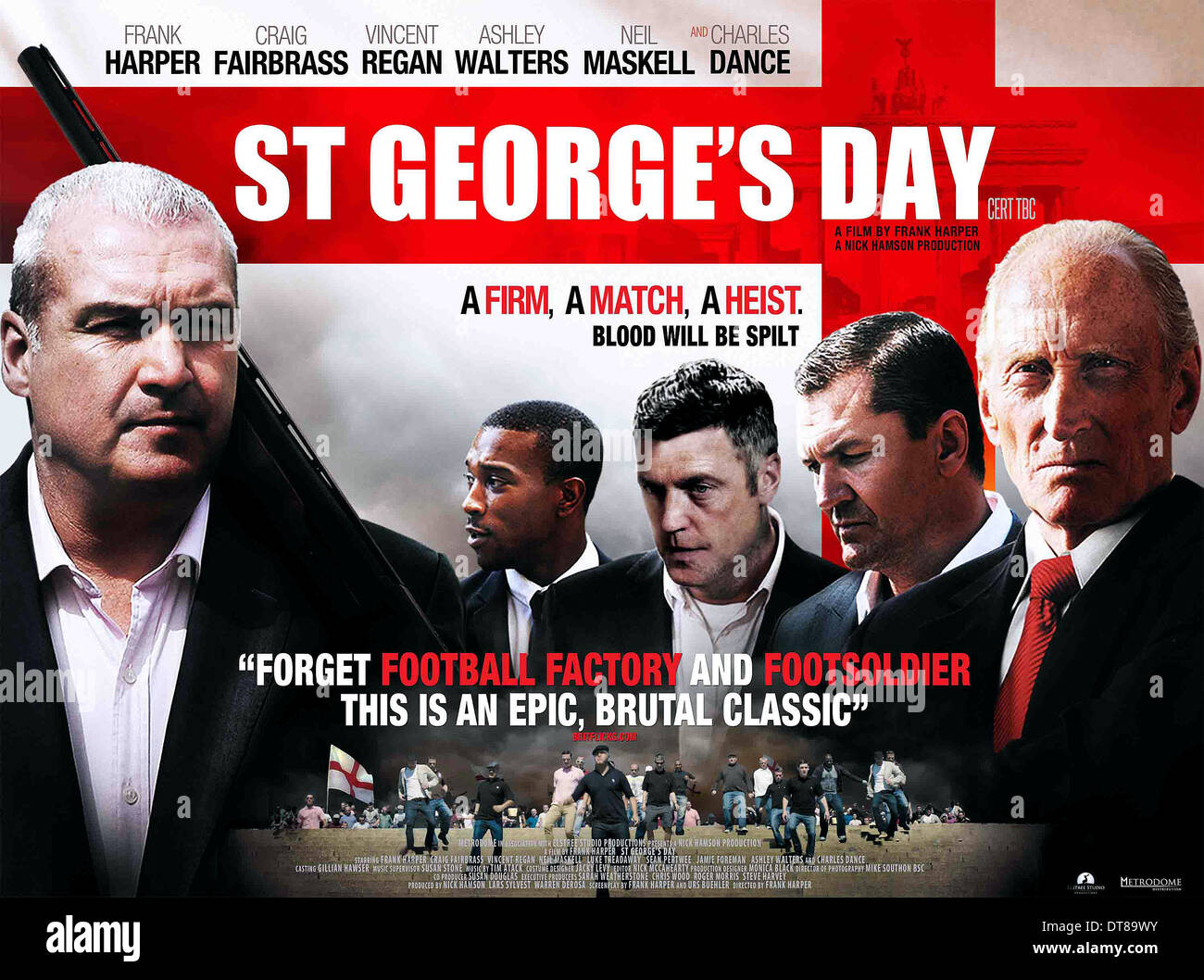 FRANK HARPER ASHLEY WALTERS VINCENT REGAN CRAIG FAIRBRASS & CHARLES DANCE POSTER ST GEORGE'S DAY (2012) - Stock Image