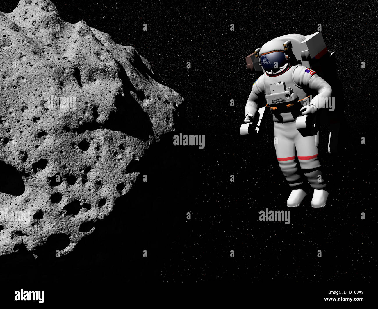 Astronaut exploring an asteroid in outer space. - Stock Image