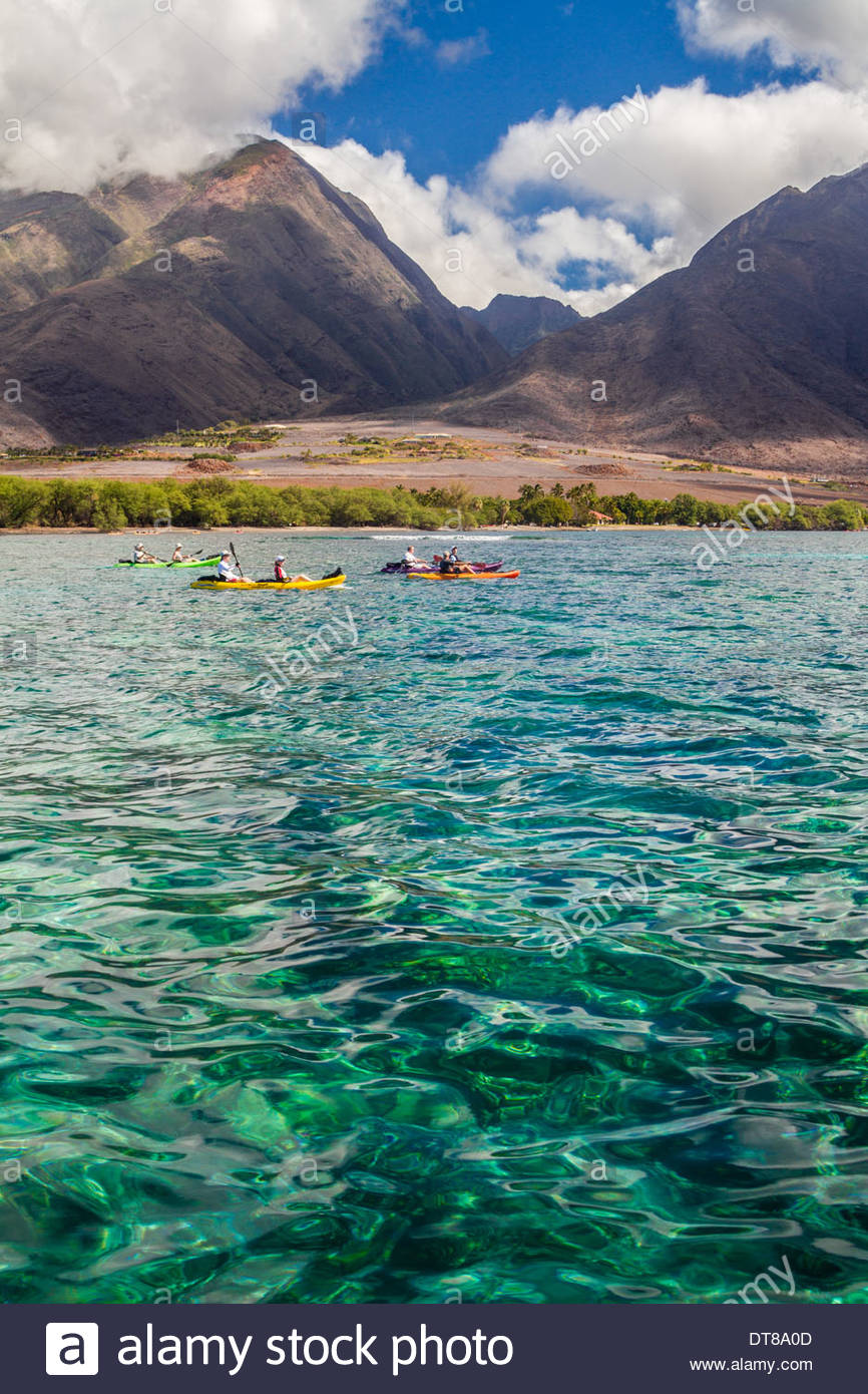 Kayaking The Emerald Waters Of Maui, Hawaii, USA - Stock Image