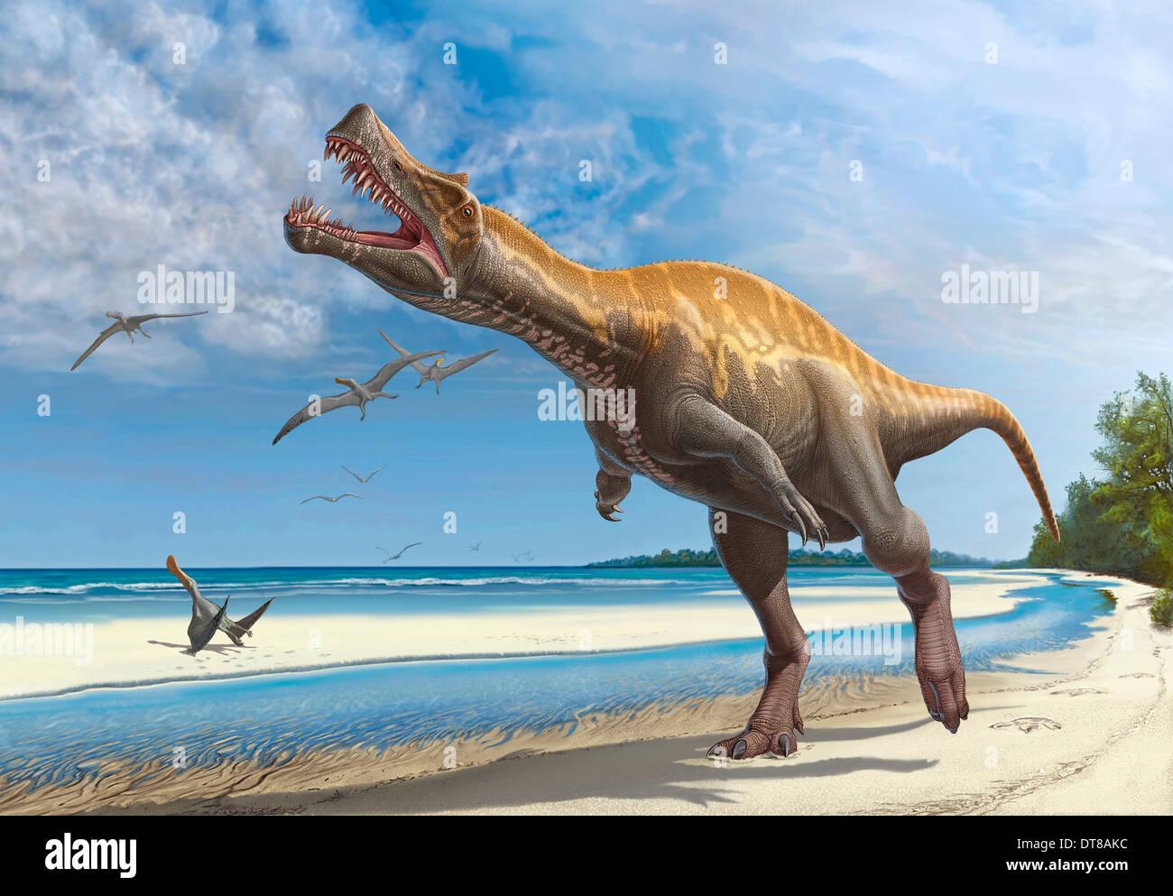 Irritator challengeri lets out a loud roar while walking along a Cretaceous shoreline. - Stock Image
