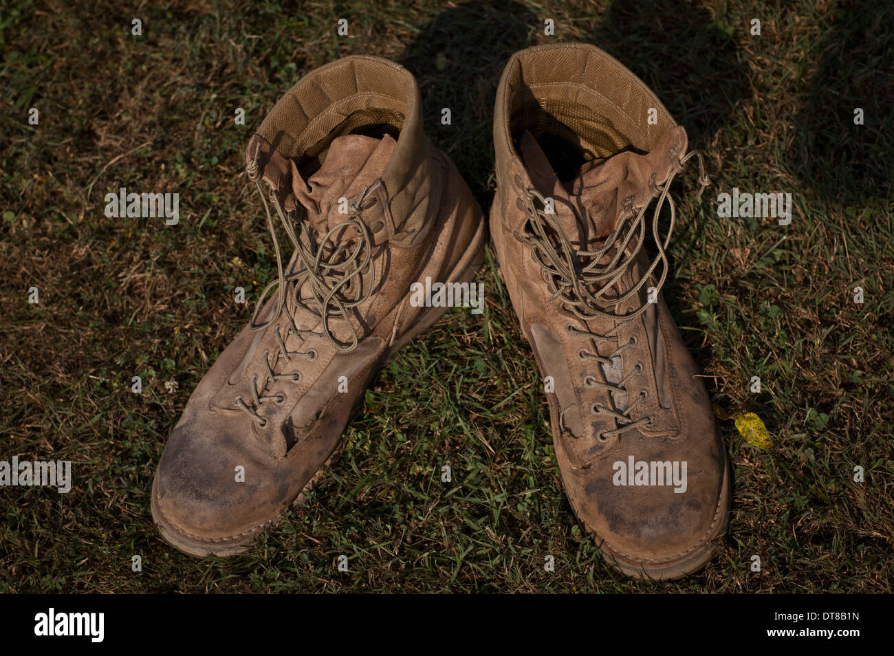 August 3, 2011 - A pair of combat boots belonging to a U.S. Marine Corps Sergeant who received the medal of honor. - Stock Image
