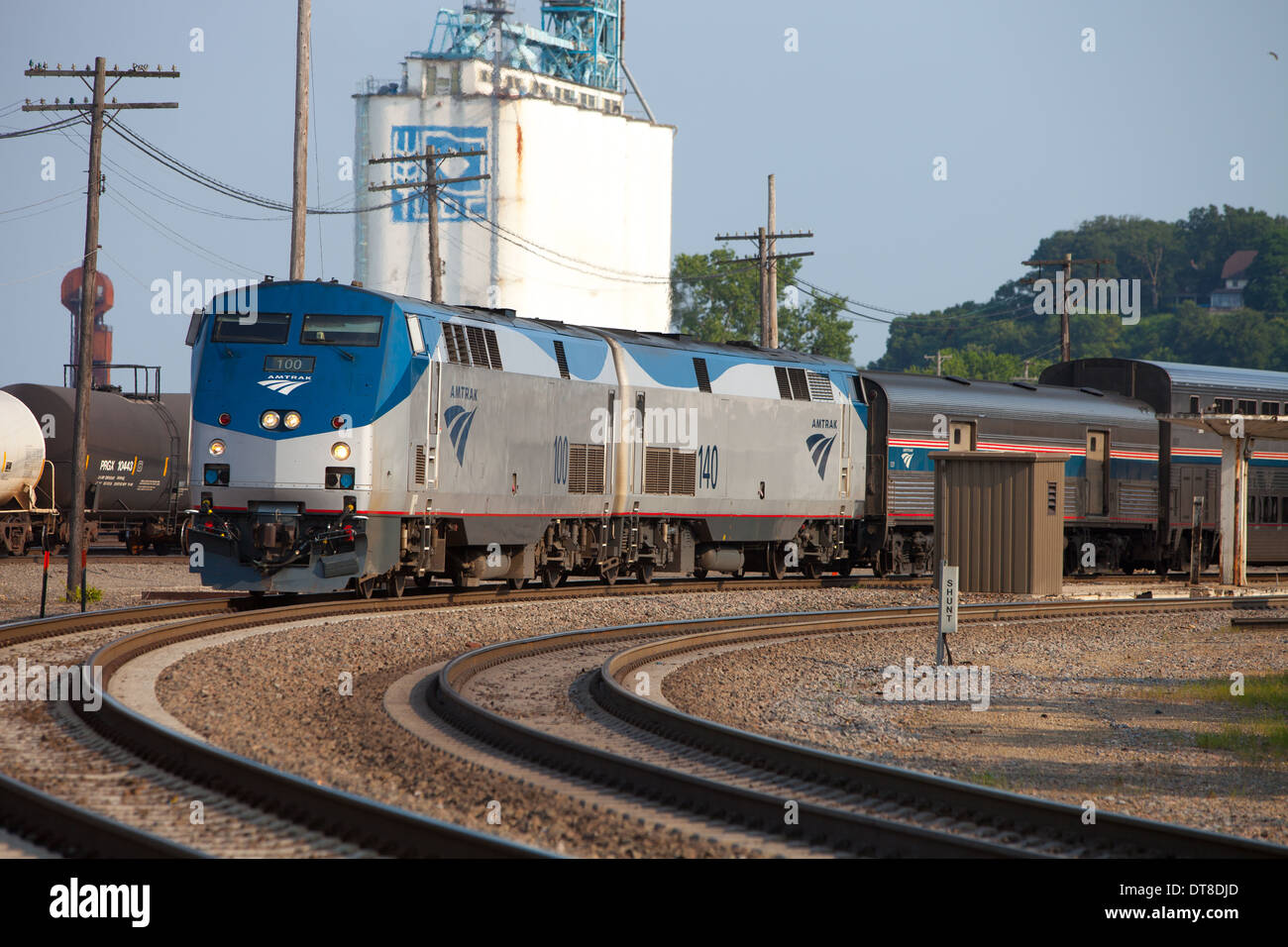 The westbound Amtrak California Zephyr makes a brief station stop at Burlington, IA before heading for Denver. - Stock Image