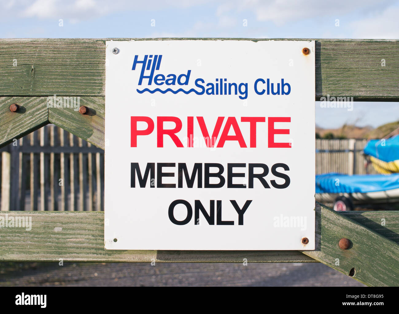 Sign Hill Head sailing club Private members only Titchfield Haven southern England UK - Stock Image