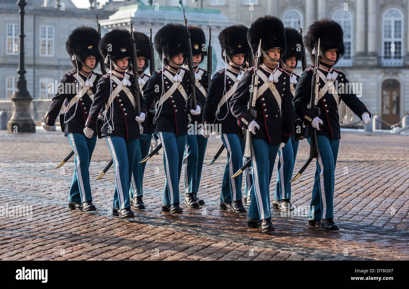 Changing of the guard at Amalienborg Royal Palace, Copenhagen, Denmark - Stock Image