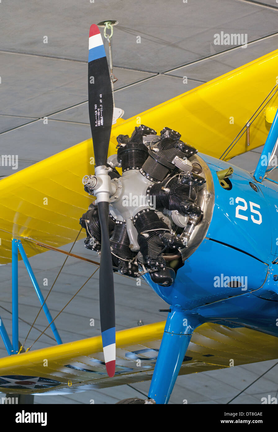 Boeing Stearman PT-17  biplane fitted with a 7 cylinder radial aero engine Duxford Imperial war museum Museum England UK - Stock Image