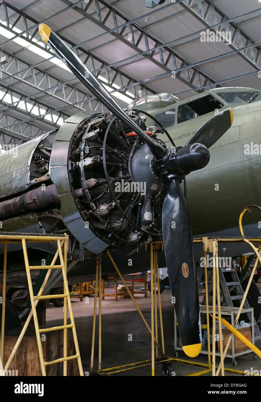 Wright R 1820 Radial aero engine fitted to Boeing B17 Flying fortress Duxford imperial war museum England UK - Stock Image