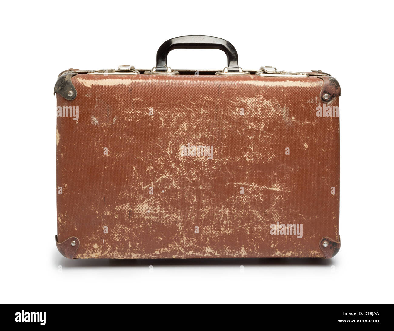 Vintage brown suitcase on white background - Stock Image