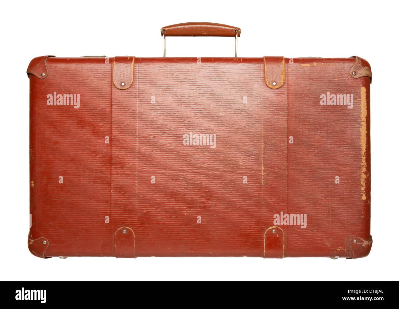 Vintage red suitcase isolated on white background - Stock Image