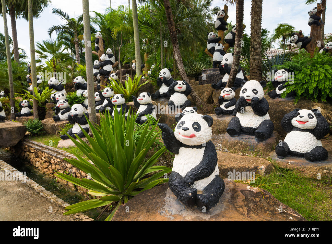 Panda Bears Sculptures, Nong Nooch Tropical Garden And Resort, Thailand    Stock Image