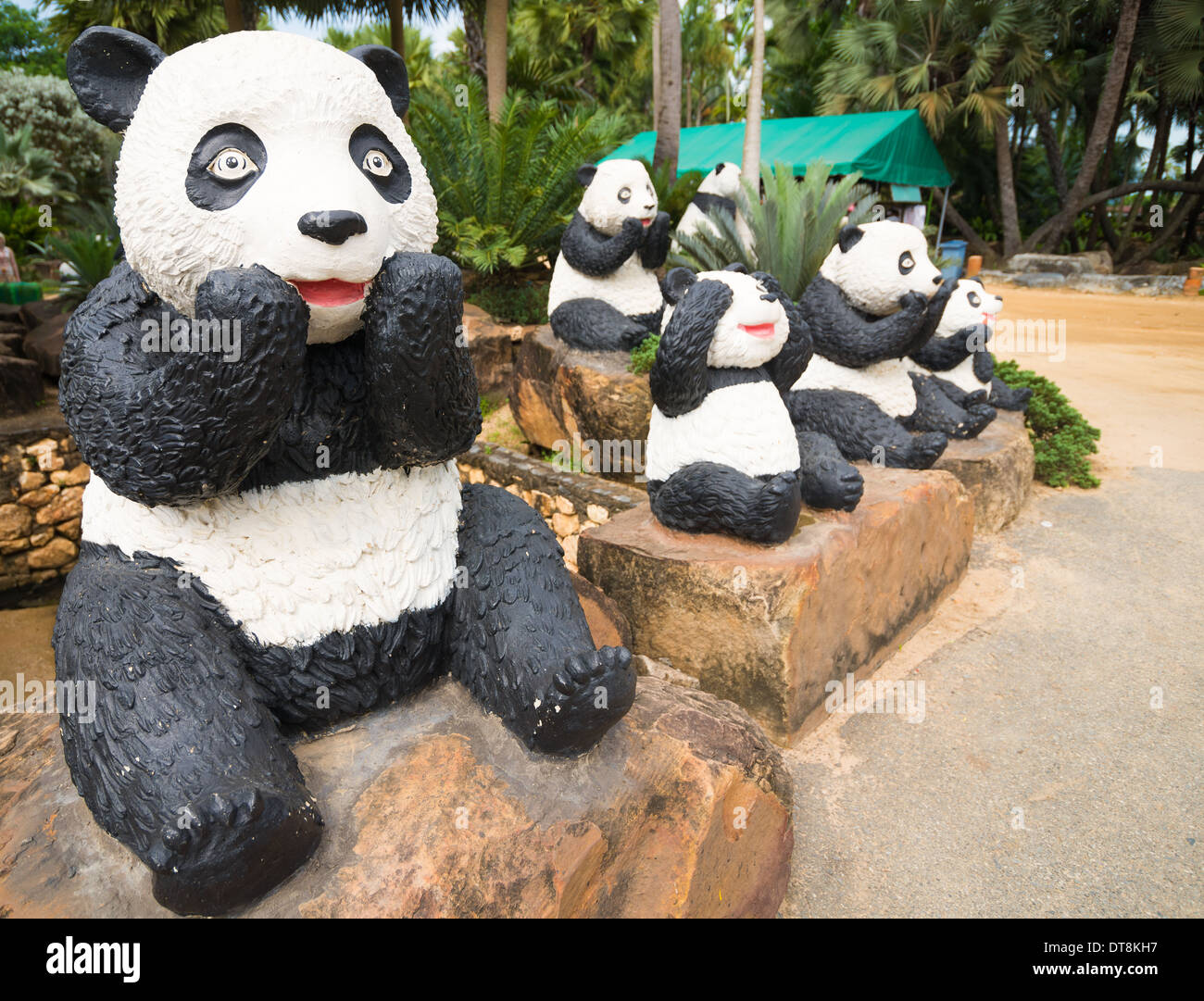 Panda Bears Sculptures, Nong Nooch Tropical Garden And Resort, Thailand