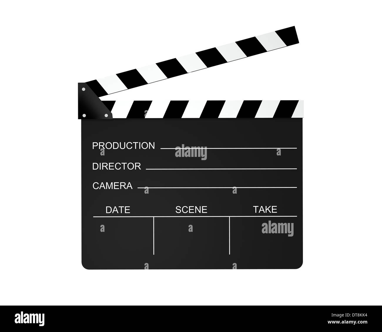 Film slate isolated on a white background. - Stock Image