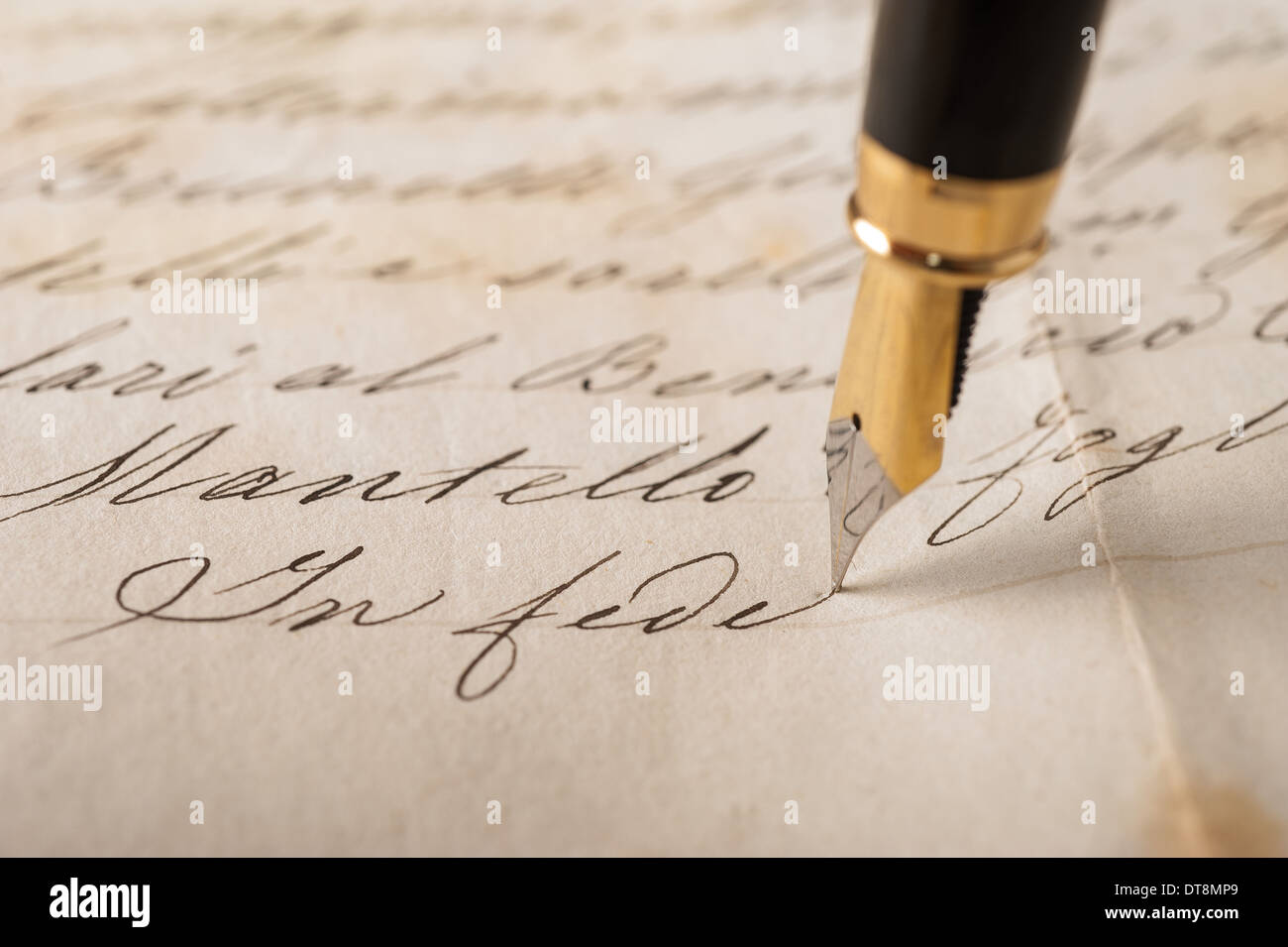 Fountain pen writing on an old handwritten letter stock photo fountain pen writing on an old handwritten letter thecheapjerseys Images