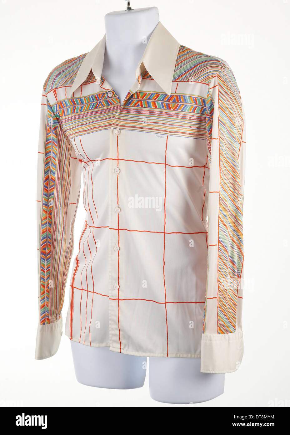 Vintage Nik Nik 1970's disco shirt on a mannequin. - Stock Image