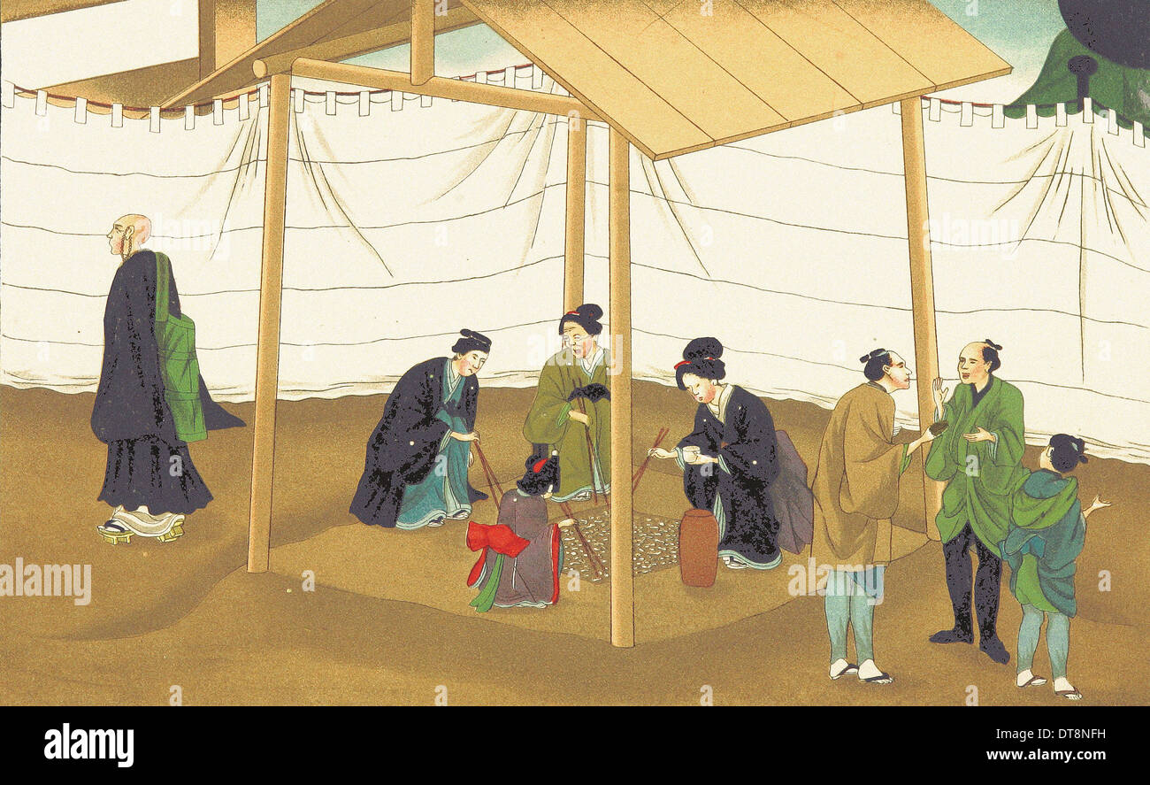 Relatives collecting ashes - Chromo-Lithography from original Japanese painting XIX th century - Stock Image