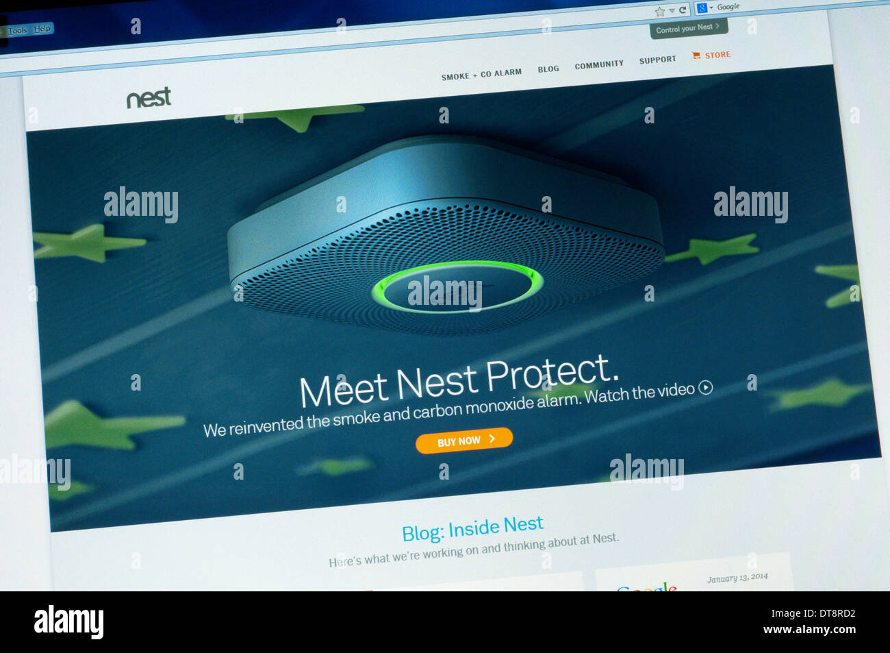 The home page of the web site for Nest smoke and carbon monoxide alarms. - Stock Image