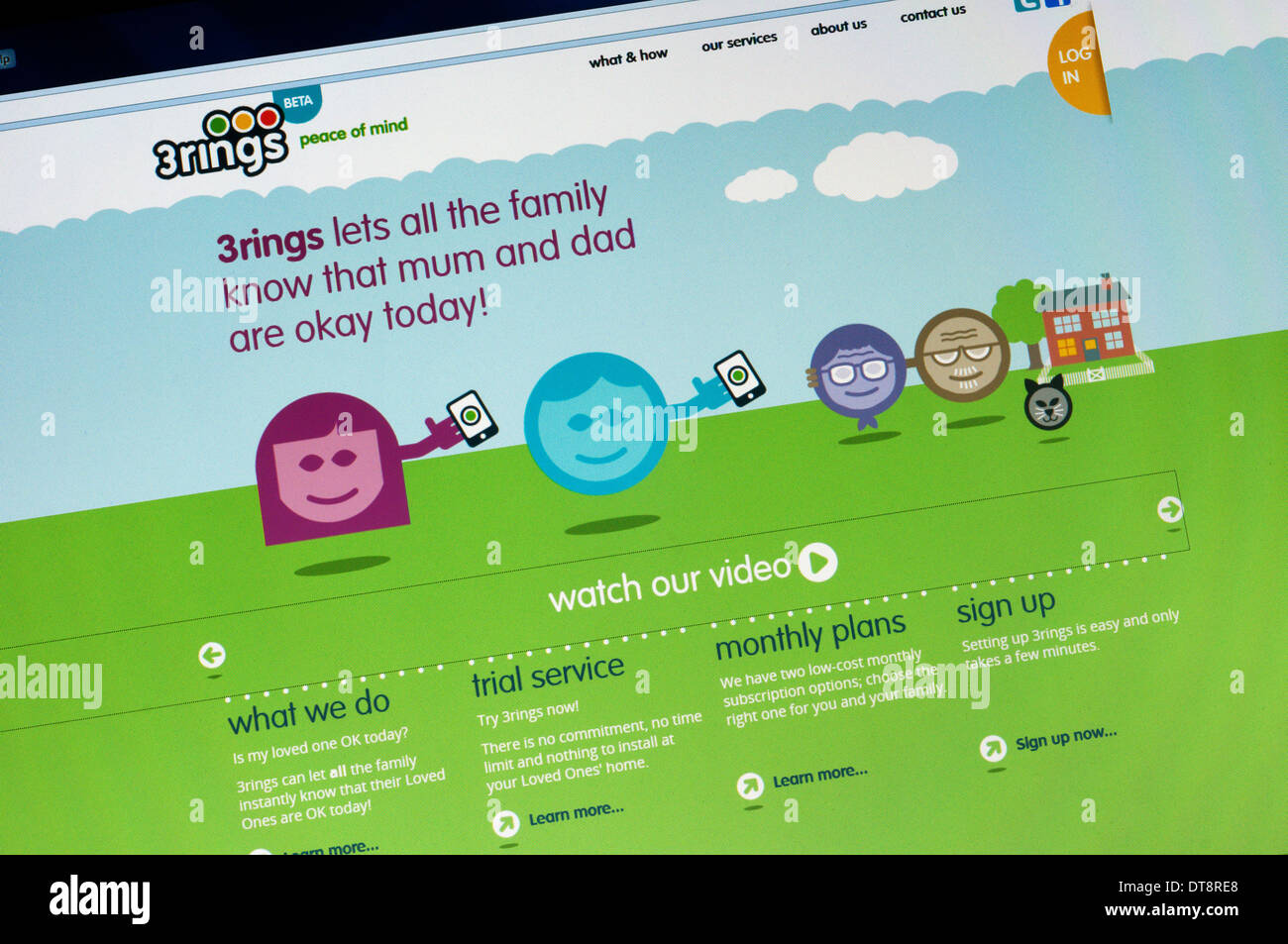 The homepage of the 3rings web site. - Stock Image