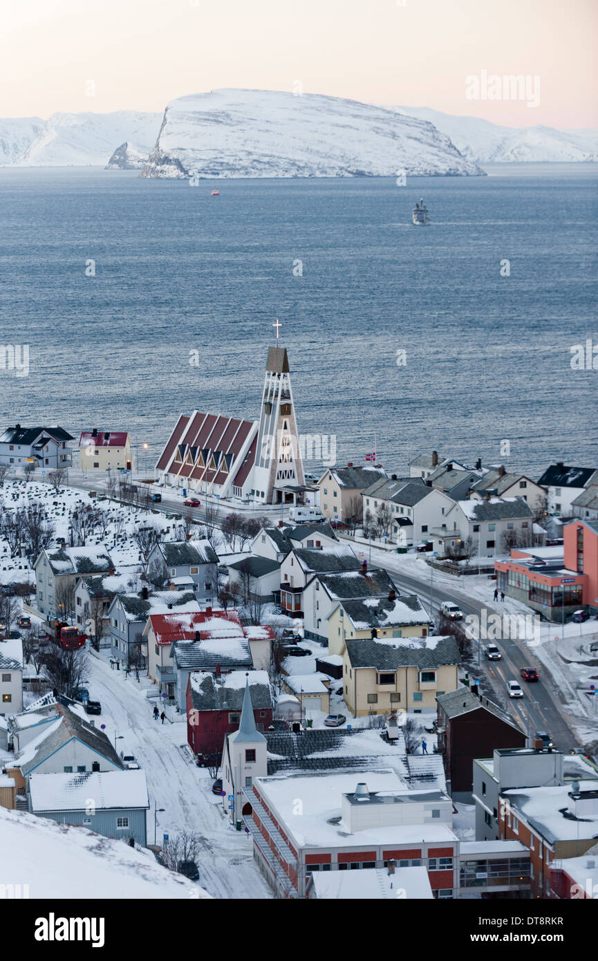 The port of Hammerfest, Norway, the northernmost town in the world Stock Photo