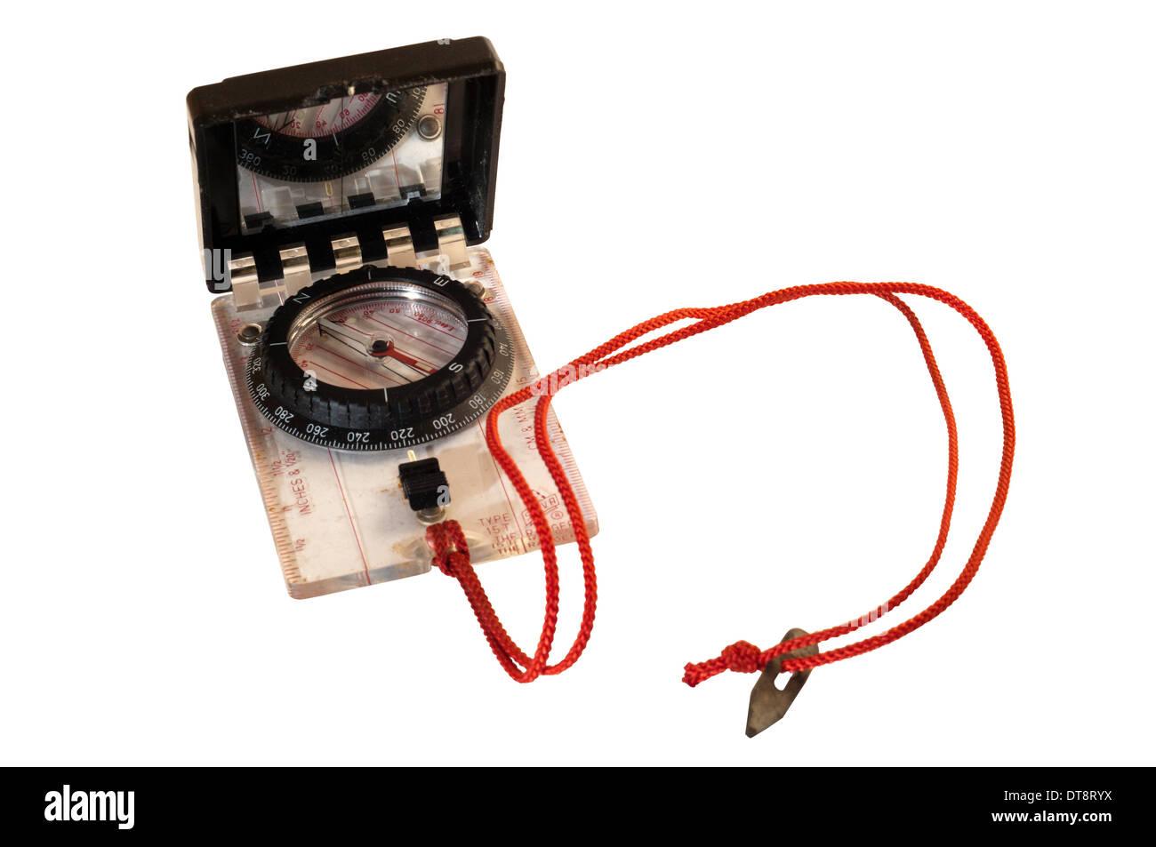 A Silva sighting compass and lanyard. - Stock Image