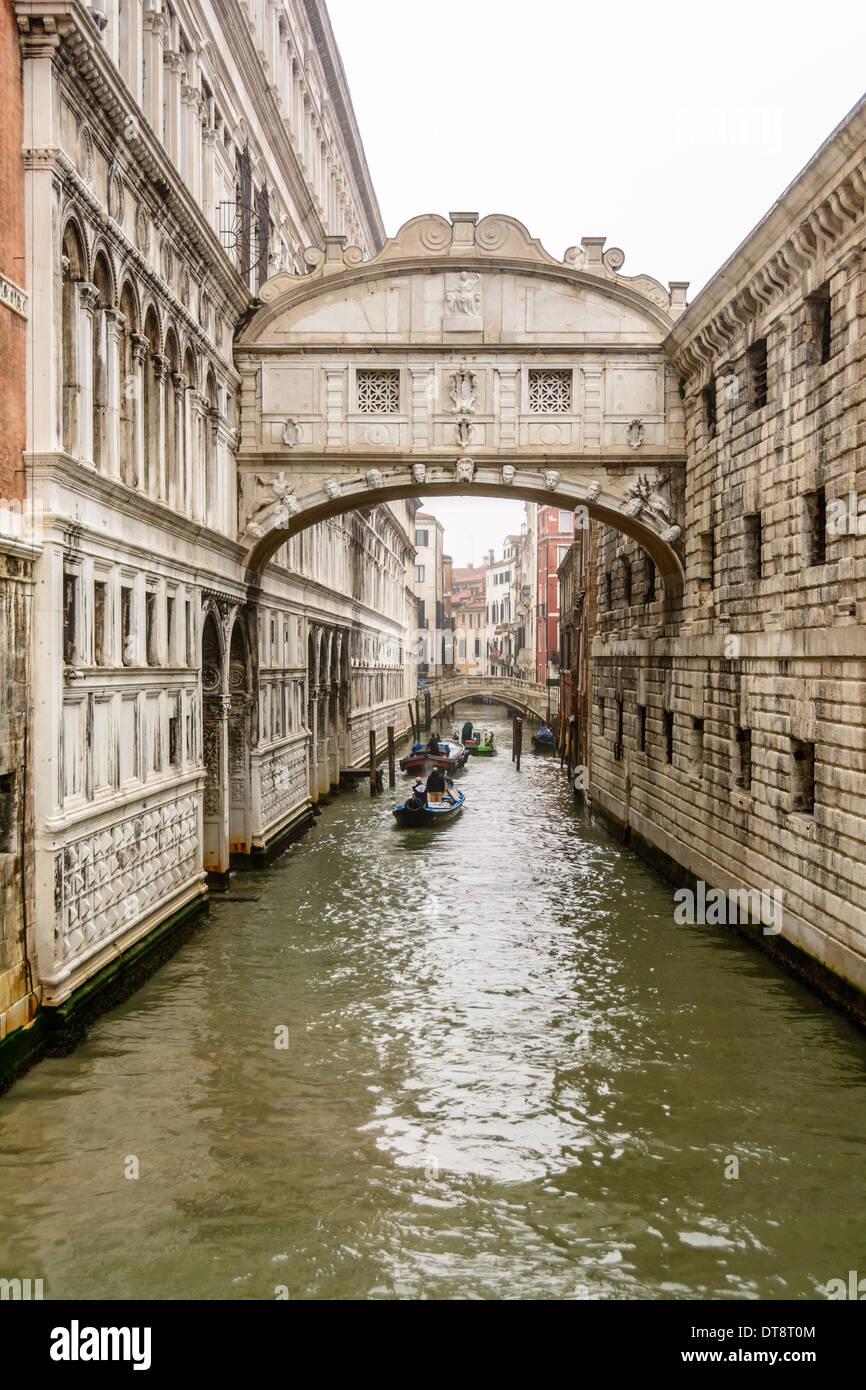 Venice, Italy. Bridge of Sighs, Ponte dei Sospiri, Rio di Palazzo, New Prison, Doge´s Palace. - Stock Image