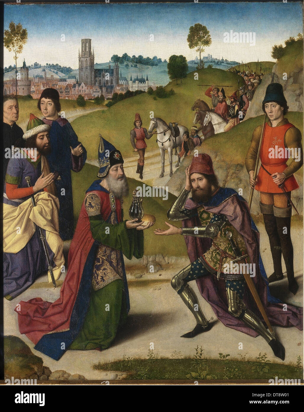 The Last Supper altarpiece: Meeting of Abraham and Melchizedek (left wing), 1464-1468. Artist: Bouts, Dirk (1410/20-1475) - Stock Image