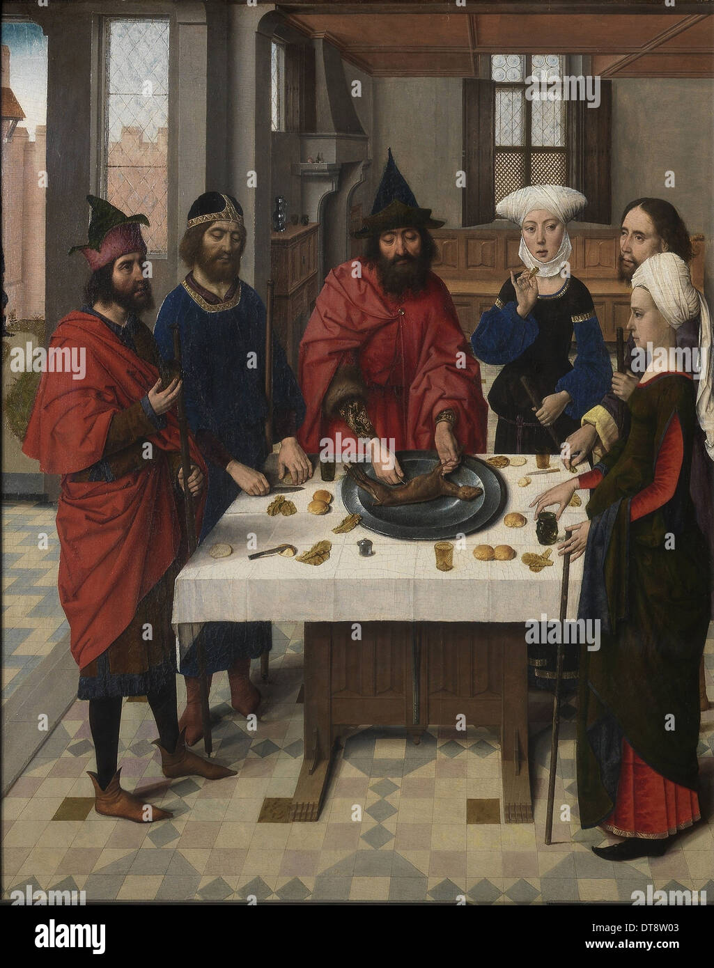 The Last Supper altarpiece: Passover Seder (left wing), 1464-1468. Artist: Bouts, Dirk (1410/20-1475) - Stock Image