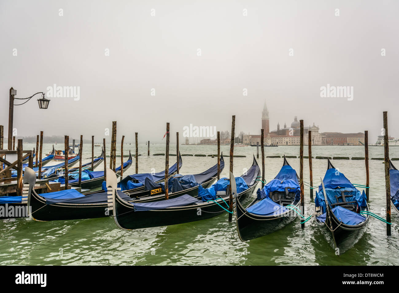 Venice, Italy. Popular view with Venetian gondolas in foreground and San Giorgio Maggiore island in the background Stock Photo