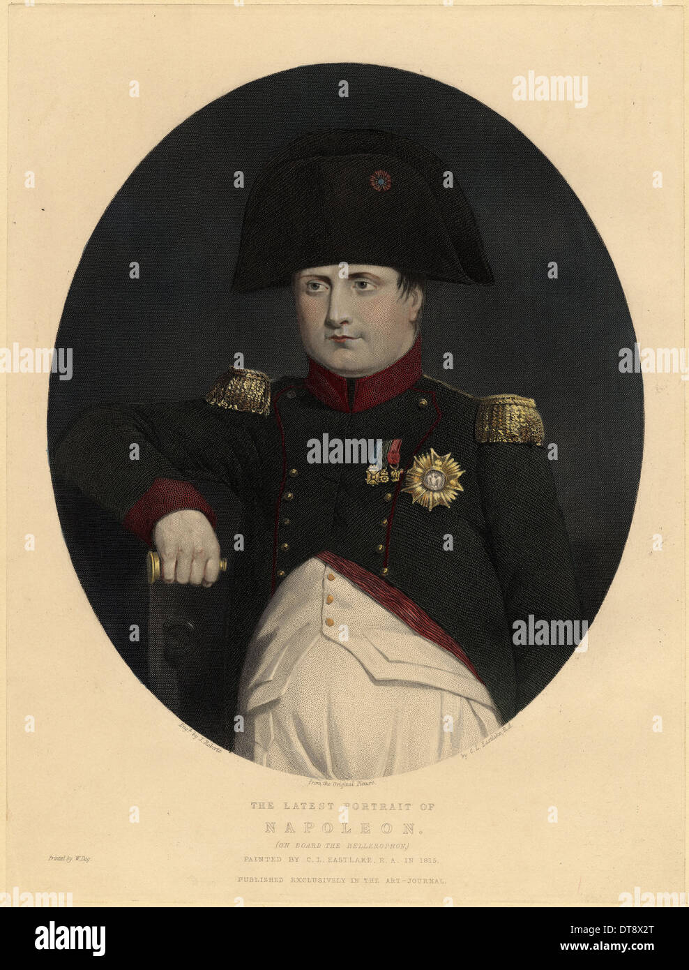 Latest portrait of Napoleon on board the Bellerophon, 1815. Artist: Eastlake, Sir Charles Lock (1793-1865) - Stock Image