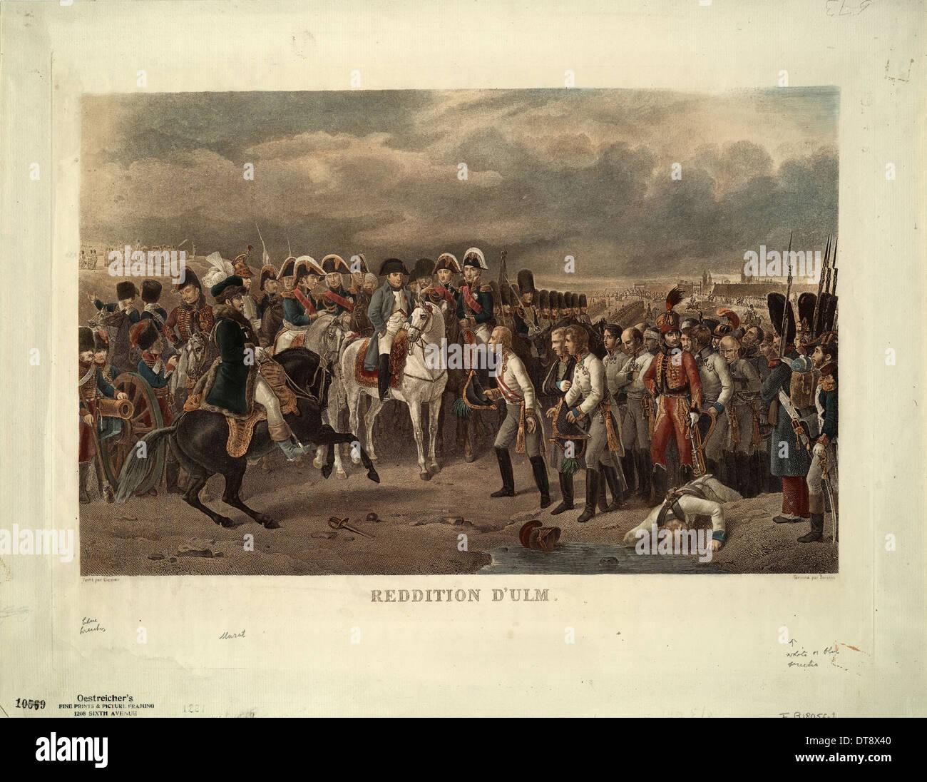 The Capitulation of Ulm. Artist: Grenier de Saint-Martin, Francisque-Martin-François (1793-1867) - Stock Image