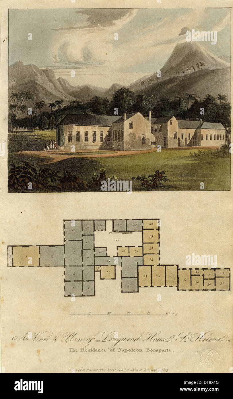 View and Plan of Longwood House, St. Helena: the Residence of Napoleon Bonaparte, 1817. Artist: Ackermann, Rudolph (1764-1834) - Stock Image