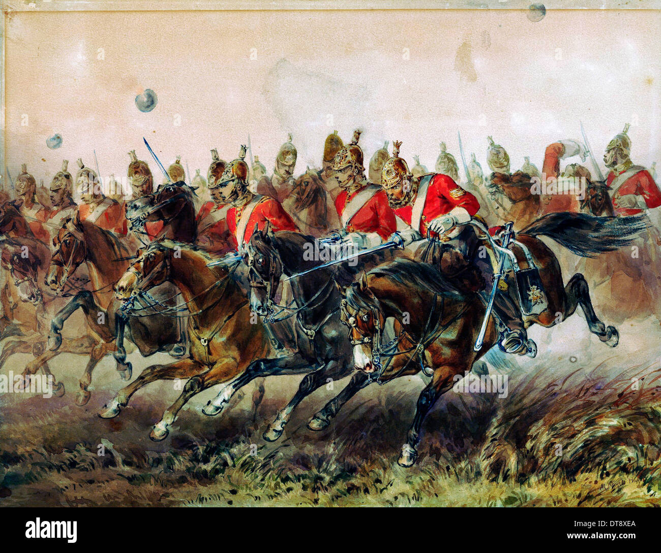 The Charge of the Light Brigade during the Battle of Balaclava, 1854. Artist: Hayes, Michael Angelo (1820-1877) - Stock Image