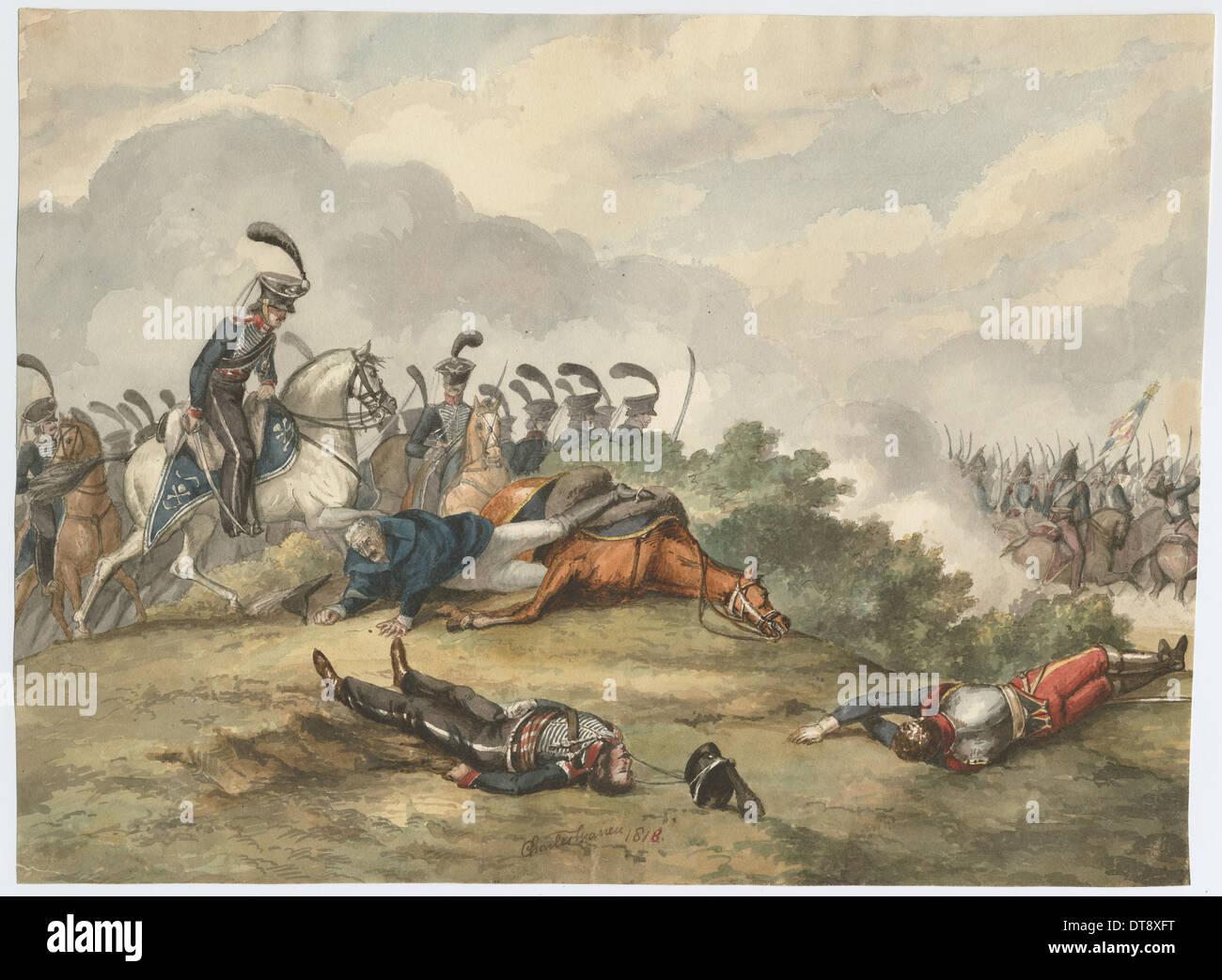 Marshal Blücher at the Battle of Ligny on 16 June 1815, 1818. Artist: Warren, Charles Turner (1762-1823) - Stock Image