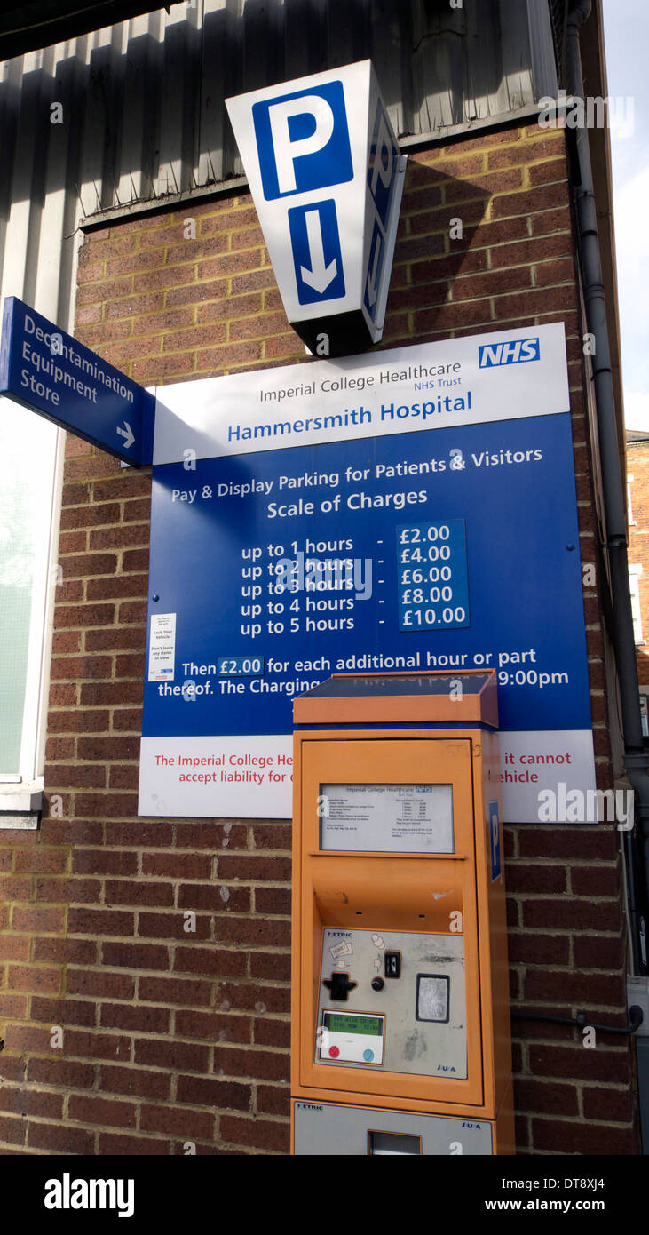 united kingdom west london du cane road hammersmith hospital a sign displaying car parking charges - Stock Image