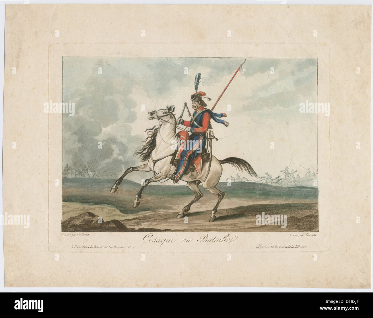 Cossack at the battle, 1815. Artist: Vernet, Carle (1758-1836) - Stock Image