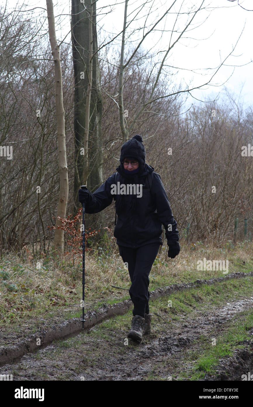Lady Rambler on an a muddy track in rural England in Winter Stock Photo