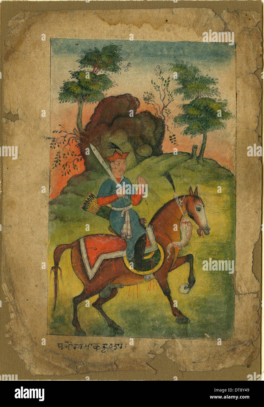 Indian armed cavalryman, c. 1500. Artist: Indian Art - Stock Image