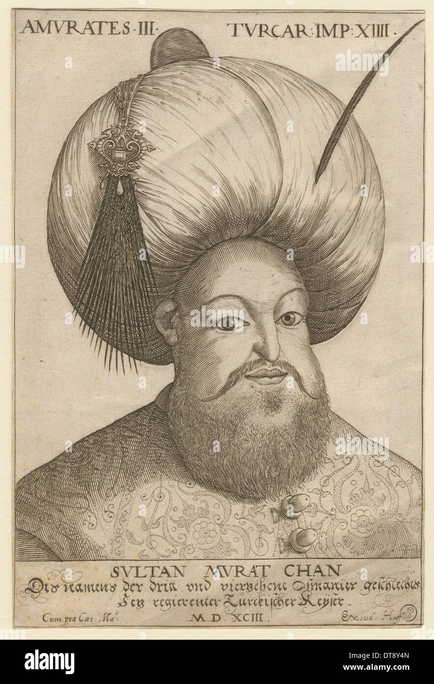 Murad III (1546-1595), Sultan of the Ottoman Empire, 1593. Artist: Anonymous - Stock Image