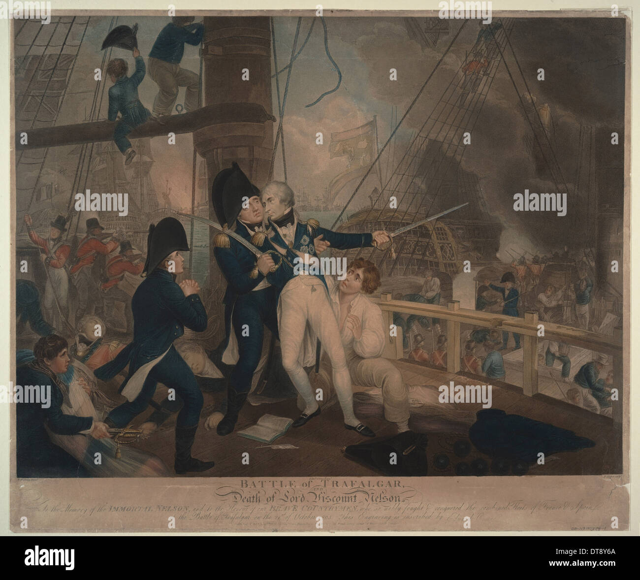The Battle of Trafalgar and the Death of Nelson, 1806. Artist: Craig, William Marshall (ca. 1765-1827) - Stock Image