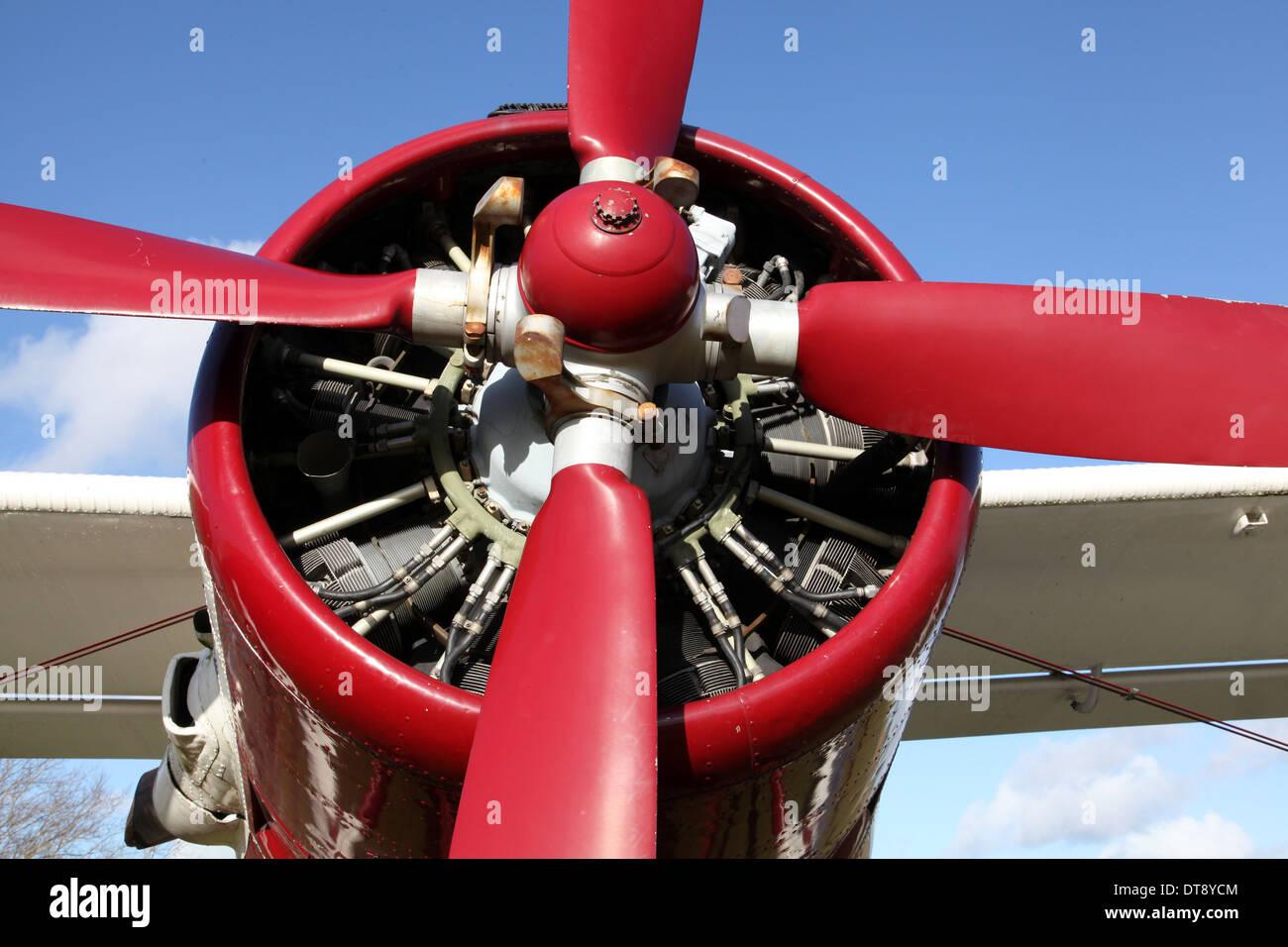 The radial engine of an Antanov AN2 aircraft - Shvetson Ash-21 - Stock Image