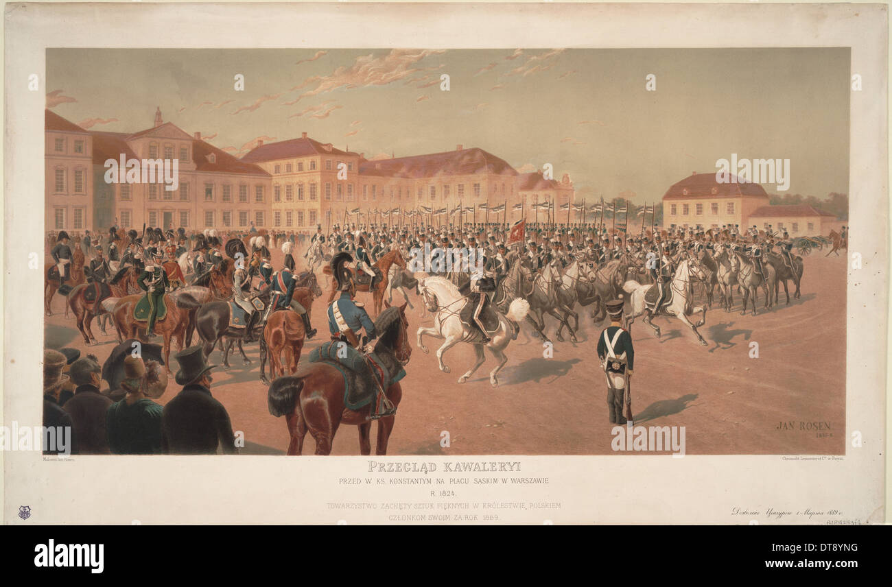 Grand Duke Constantine Pavlovich of Russia at the Cavalry Review on the Saxon Square in Warsaw, 1824 Artist: Rosen, Jan (1854-19 - Stock Image