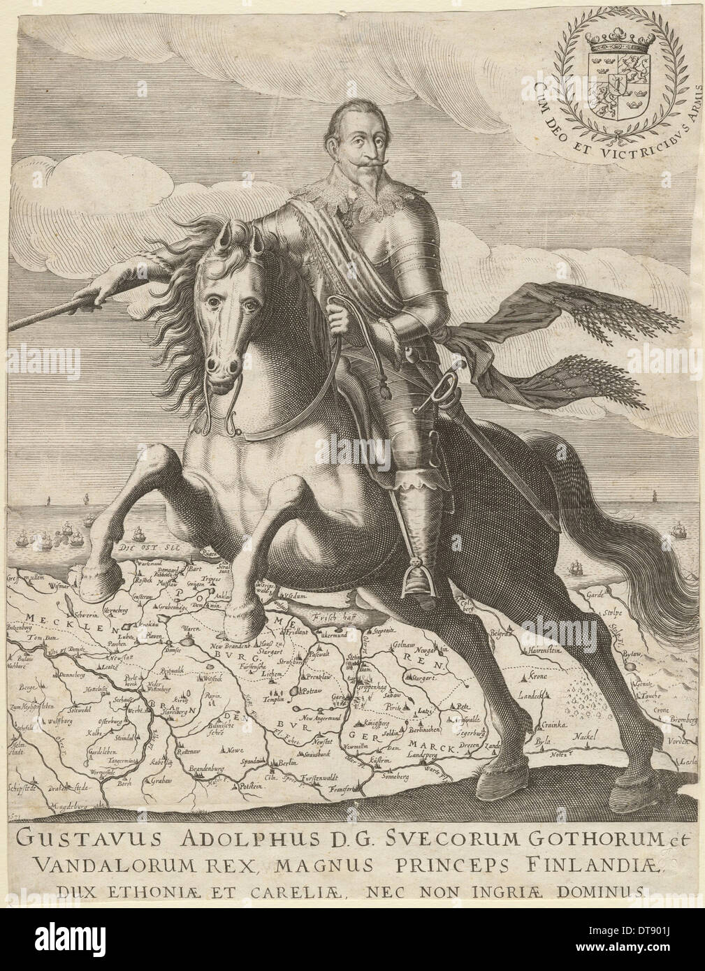 Gustavus Adolphus before the map of Pomerania in the background, 1630. Artist: Anonymous - Stock Image