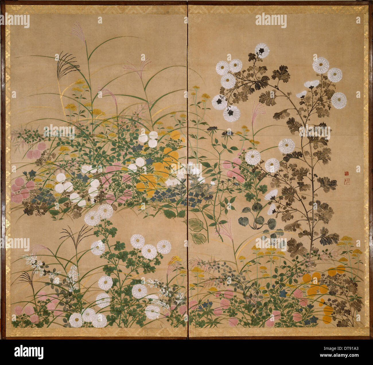 Flowering Plants in Autumn, 18th century. Artist: Korin, Ogata (1658-1716) - Stock Image