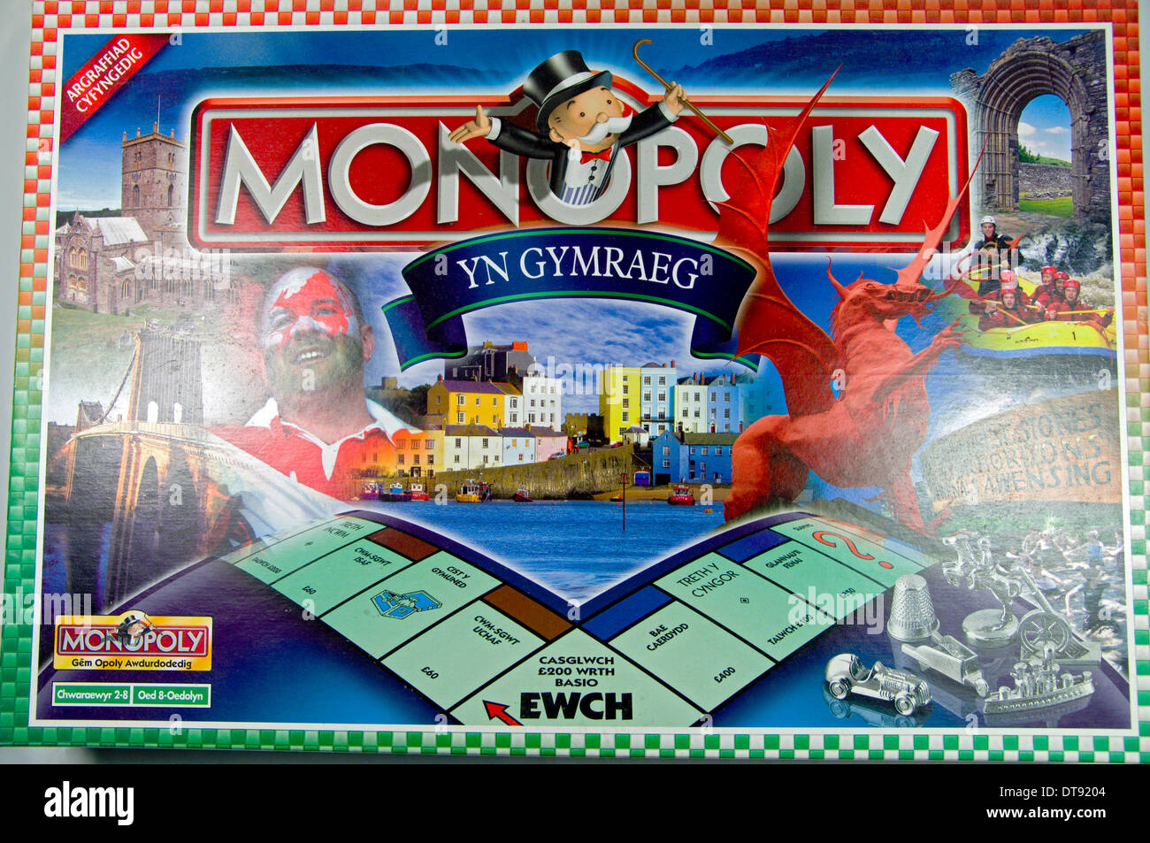 Welsh language version of Monopoly board game. - Stock Image